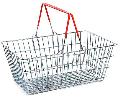 2 Handle Red Wire Shopping Basket Retail Supermarket Use Hand Carry Mesh