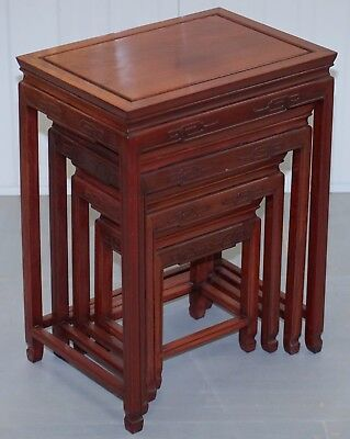 Vintage Chinese Rosewood Carved Nest Of Four Tables Lovely Detailing Rare Finds