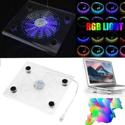 USB RGB LED Cooler Cooling Fan Pad Stand for PS4 Playstation 4 Laptop +LED Strip