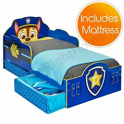 Paw Patrol Chase Toddler Bed With Storage Plus Deluxe Foam Mattress New
