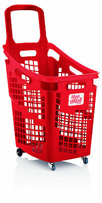 Araven 4 Wheel Plastic Shopping Trolley Basket 65L Extra Large Red