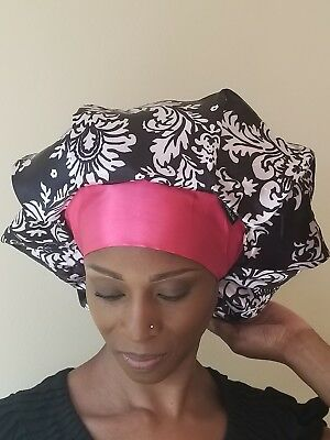 b11b5eadeab88f Satin Lined Cap Bouffant Sleep Hair Bonnet with Wide Adjustable Band 2  Colors
