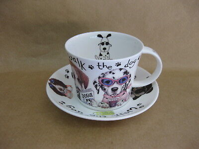 Roy Kirkham Animal Fashions Large Cup & Saucer ~ Walking The Dog ~ Fine China