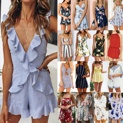 Women Ladies Mini Playsuit Jumpsuit Romper Summer Beach Casual Shorts Mini Dress