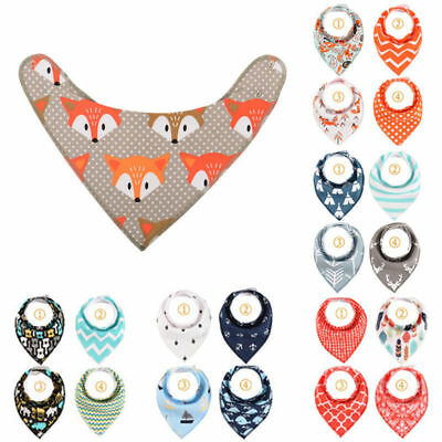 4Pcs Baby Feeding Head Scarf Towel Bib Boy Girl Bandana Saliva Triangle Dribble