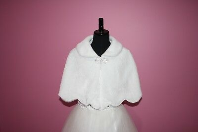 SNS307 - Girls White Faux Fur Communion and Flower Girl Cape.