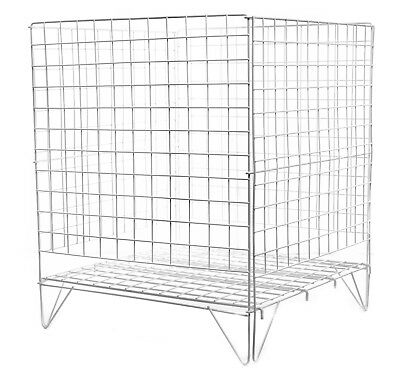 "24"" Square Large Wire Dump Bin Basket. White Plastic Coated. 600mm Offer Basket"