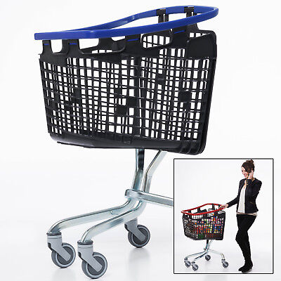 Blue Shopping Trolley Small Supermarket Cart Araven Loop Trolley 100L
