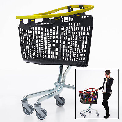 Yellow Shopping Trolley Small Supermarket Cart Araven Loop Trolley 100L