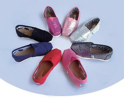 New Kids Solid Glitter Slip-on Casual Flats Boy Girls Canvas Loafer Shoes #004