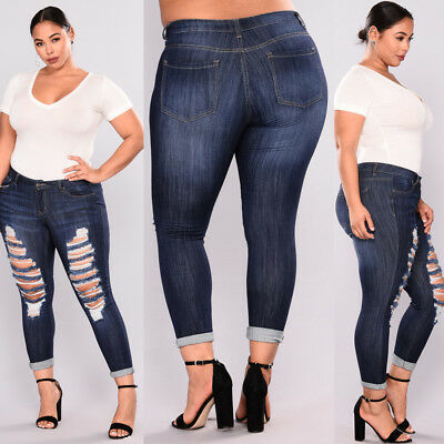 NEW WOMENS PLUS SIZE Distressed RIPPED BLUE SKINNY DENIM JEANS MIX Styles Pants