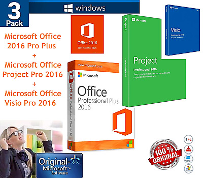Microsoft Office 2016 Key License 3 PACK Office + Project + Visio Pro Genuine