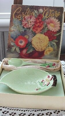 Vintage Carlton Ware China Apple Blossom Green Jam Dish  & Spoon In Original Box