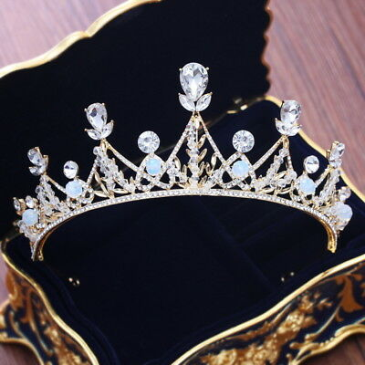 5.5cm High Drip Crystal Beads Gold Wedding Bridal Party Pageant Prom Tiara Crown