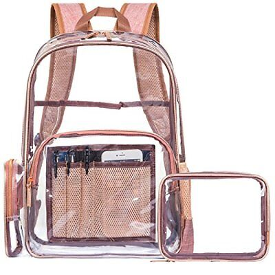 Clear Backpack with Cosmetic Bag & Case Transparent PVC Multi pockets Rose Gold