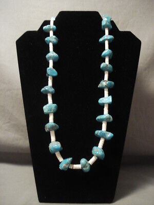 Very Old Vintage Navajo Persian Turquoise Necklace