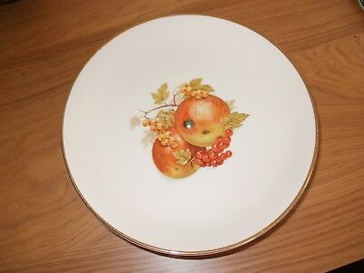 Vintage Crown Devon Cake Plate On A Gold Co;oured Stand With Fruit Design.