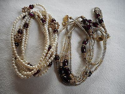 Vintage TWO Napier glass necklaces, faux pearls, seed glass, 36""