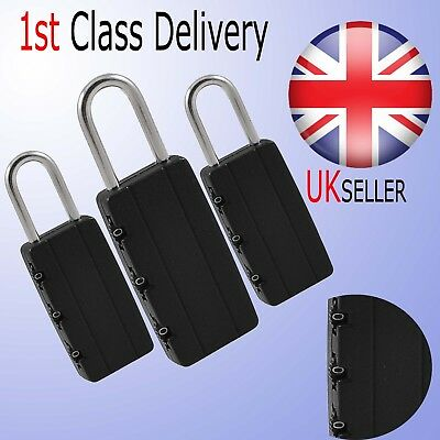 Pack of 3 Combination Lock Padlock 3 Digit Code Luggage Suitcase Travel Bags UK