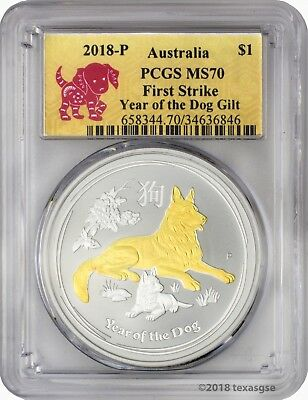 2018-P $1 Australia Year of the Dog 1 oz. Silver Gilded Edition PCGS MS70 FS