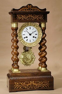 Unusual Brown Twisted Columns Rosewood Inlayed French Portico Mantel Clock