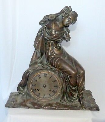 Rare Antique c.1810 French Bronze 'Empire' mantel clock case with movement