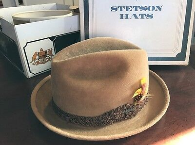 Vintage Stetson Charger Sovereign Wool Camel Fedora Hat w Orig Box Size 7  Tan 893ffd19843