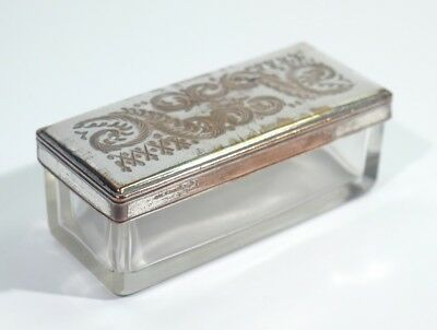 Victorian Antique Glass Toilet Box with Engraved Silver Plated Lid C1880.