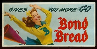 "1930's Bond Bread Cheerleader ""Gives You More Go"" Advertising Blotter"
