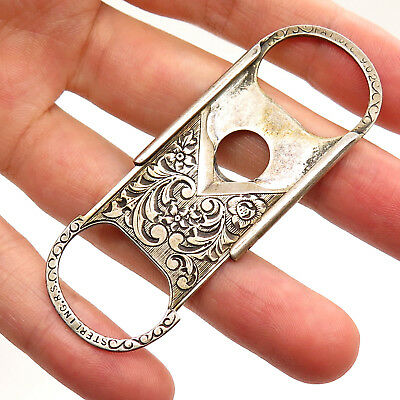Antique Rare Late Victorian Signed 925 Sterling Silver Cigarette Cigar Cutter