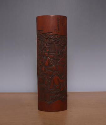 Zhou Shu Signed Antique Chinese Carved Figures Bamboo Arm Plate