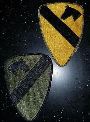 WWII US Army 1st Cavalry Division Cut Edge + 60s Combat Side Reversed Patch Set