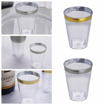 ecb05a66ff8 7 oz Disposable CLEAR PLASTIC WINE CUPS RIM Tumblers Party Wedding WHOLESALE