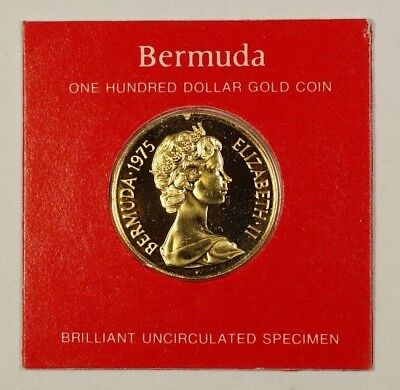 1975 Bermuda One Hundred Dollar $100 Gold Coin BU Struck by the Franklin Mint