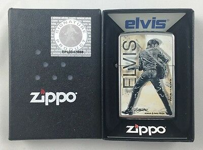 Elvis Presley Chrome Zippo Lighter Brand New MIB Betty Harper
