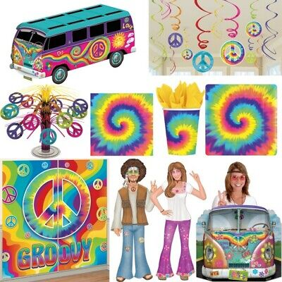60er Jahre Party Deko Hippie Flower Power Peace Dekoration Set Sixties Motto Set
