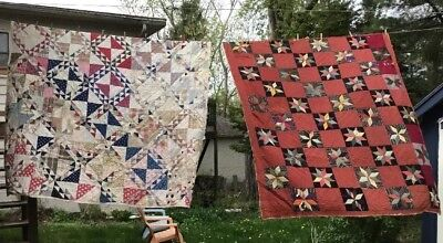 "Two antique patchwork quilts As Is both 70"" x 80"""