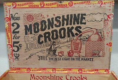 *ANTIQUE OZARK MOONSHINE CROOKS W/ STILL PROHIBITION CIGAR BOX  1st Dist of PA*