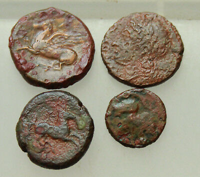 Lot of 4x Ancient Greek bronze Coins Sicily D=14-20mm