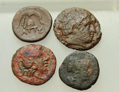 Lot of 4x Ancient Greek bronze Coins D=15-18mm