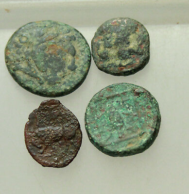 Lot of 4x Ancient Greek bronze Coins D=13-16mm