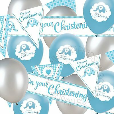 Boys Christening Banner Bunting Balloons Baby Blue Silver Party Decorations Pack