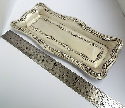 Superb Decorative Lrge Heavy English Antique 1913 Solid Sterling Silver Pen Tray