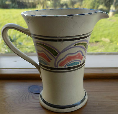 """A Vintage hand painted Honiton pottery milk sized jug 4"""" high"""