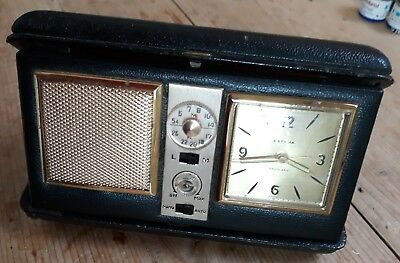 Vintage Estyma Travel Alarm Clock Radio made in Germany leather case.