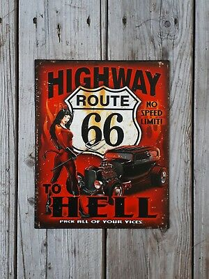 Blechschild**route 66**highway To Hell**