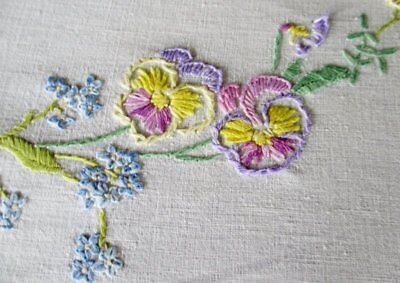 Vintage Tablecloth Hand Embroidered English Garden Flowers