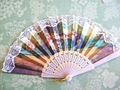 Vintage Hand Decorated Fabric Hand Fan~Stunning Victorian Ladies