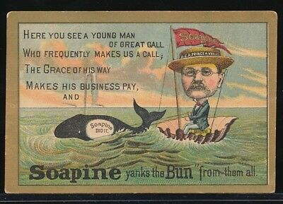 SOAPINE FRENCH LAUNDRY SOAP Victorian Trade Card H. C. A. PRINCE OF WHALES