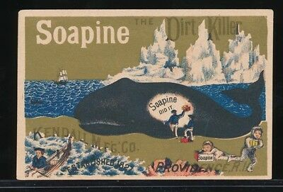 SOAPINE THE DIRT KILLER Victorian Trade Card CLEANING A WHALE Providence RI